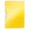 """Kép 1/8 - Gyorsfűző, klipes, PP, A4, LEITZ """"Wow ColorClip"""", sárga"""