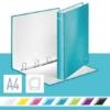 """Kép 2/8 - Gyűrűs könyv, 4 gyűrű, D alakú, 40 mm, A4 Maxi, karton, LEITZ """"Wow"""", jégkék"""