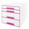"""Kép 1/8 - Irattároló, műanyag, 4 fiókos, LEITZ """"Wow Cube"""", fehér/rózsaszín"""
