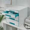 """Kép 2/8 - Irattároló, műanyag, 4 fiókos, LEITZ """"Wow Cube"""", fehér/jégkék"""