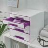 """Kép 2/8 - Irattároló, műanyag, 4 fiókos, LEITZ """"Wow Cube"""", fehér/lila"""