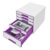 """Kép 2/8 - Irattároló, műanyag, 5 fiókos, LEITZ """"Wow Cube"""", fehér/lila"""