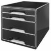 """Kép 1/8 - Irattároló, műanyag, 4 fiókos, LEITZ """"Cube"""", fekete"""