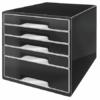 """Kép 1/8 - Irattároló, műanyag, 5 fiókos, LEITZ """"Cube"""", fekete"""