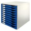 """Kép 1/8 - Irattároló, műanyag, 10 fiókos, LEITZ """"Standard"""", kék"""