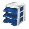 """Kép 1/8 - Irattálca, műanyag, 3 fiókos, LEITZ """"Plus"""", kék"""