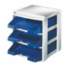 """Kép 2/8 - Irattálca, műanyag, 3 fiókos, LEITZ """"Plus"""", kék"""