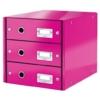 """Kép 1/8 - Irattároló, laminált karton,  3 fiókos, LEITZ """"Click&Store"""", rózsaszín"""