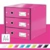 """Kép 2/8 - Irattároló, laminált karton,  3 fiókos, LEITZ """"Click&Store"""", rózsaszín"""
