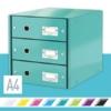 """Kép 2/8 - Irattároló, laminált karton, 3 fiókos, LEITZ """"Click&Store"""", jégkék"""