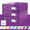 """Kép 2/8 - Irattároló, laminált karton, 3 fiókos, LEITZ """"Click&Store"""", lila"""