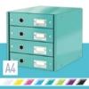 """Kép 2/8 - Irattároló, laminált karton, 4 fiókos, LEITZ """"Click&Store"""", jégkék"""