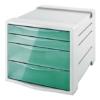 """Kép 1/8 - Irattároló, műanyag, 4 fiókos, ESSELTE """"Colour` Ice"""", áttetsző zöld"""