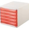 Kép 1/8 - Irattároló, műanyag, 5 fiókos, HELIT, fehér/áttetsző piros