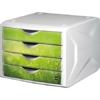 """Kép 1/8 - Irattároló, műanyag, 4 fiókos, HELIT """"Chameleon"""", fehér-zöld"""