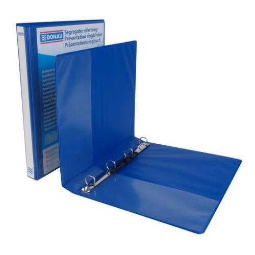 Gyűrűs könyv, panorámás, 4 gyűrű, D alakú, 37 mm, A4, PP, DONAU, kék