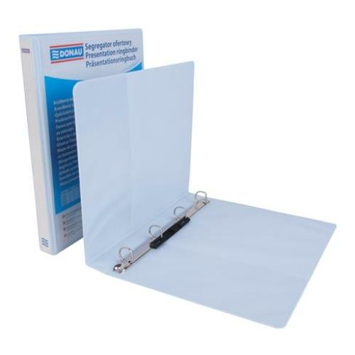Gyűrűs könyv, panorámás, 4 gyűrű, D alakú, 44 mm, A4, PP, DONAU, fehér