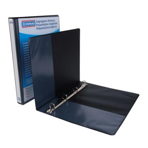 Gyűrűs könyv, panorámás, 4 gyűrű, D alakú, 44 mm, A4, PP, DONAU, fekete
