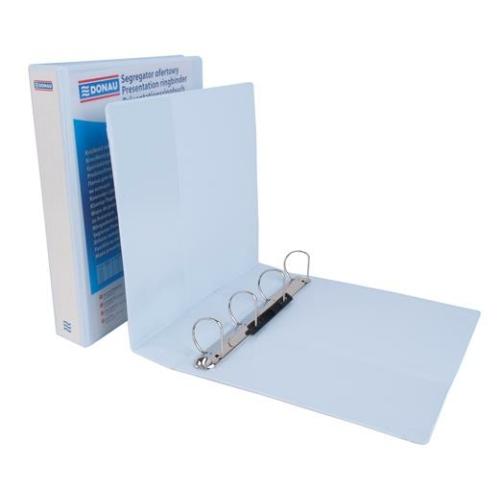 Gyűrűs könyv, panorámás, 4 gyűrű, D alakú, 63 mm, A4, PP, DONAU, fehér
