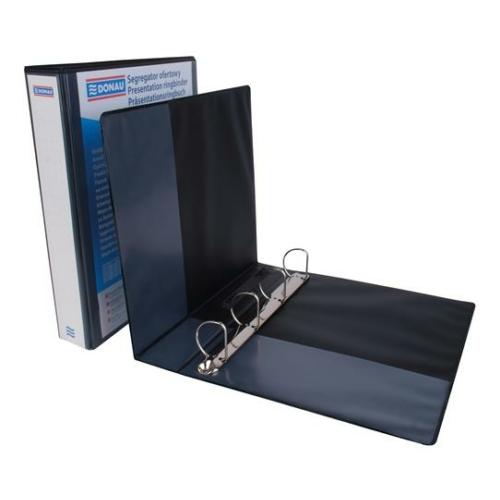 Gyűrűs könyv, panorámás, 4 gyűrű, D alakú, 63 mm, A4, PP, DONAU, fekete