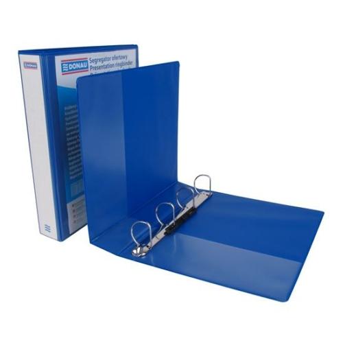 Gyűrűs könyv, panorámás, 4 gyűrű, D alakú, 63 mm, A4, PP, DONAU, kék