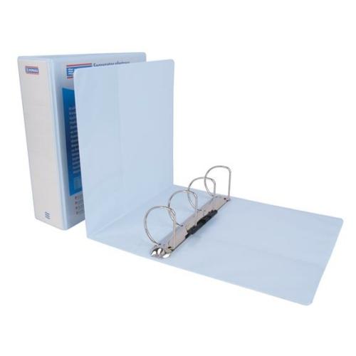 Gyűrűs könyv, panorámás, 4 gyűrű, D alakú, 80 mm, A4, PP, DONAU, fehér
