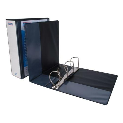 Gyűrűs könyv, panorámás, 4 gyűrű, D alakú, 80 mm, A4, PP, DONAU, fekete