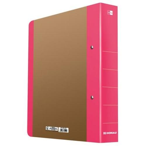 """Gyűrűs könyv, 2 gyűrű, D alakú, 50 mm, A4, karton, DONAU """"Life"""", neon rózsaszín"""