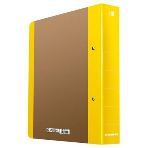 """Gyűrűs könyv, 2 gyűrű, D alakú, 50 mm, A4, karton, DONAU """"Life"""", neon sárga"""