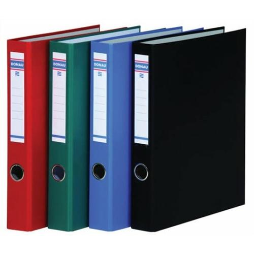Gyűrűs könyv, 4 gyűrű, D alakú, 45 mm, A4, PP/karton, DONAU, fekete
