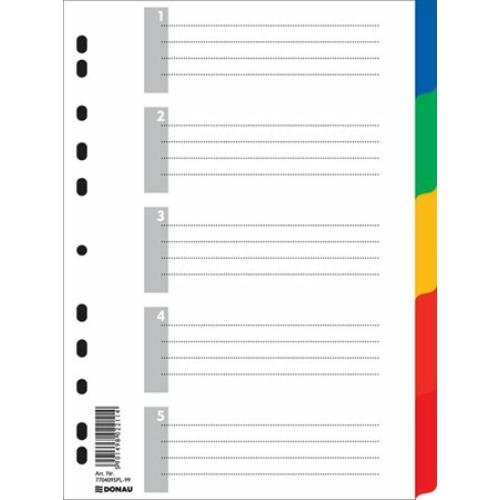 Regiszter, műanyag, A4, 5 részes, DONAU, színes