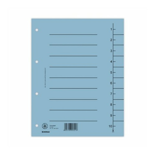 Regiszter, karton, A4, DONAU, kék