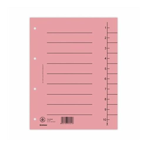 Regiszter, karton, A4, DONAU, rózsaszín