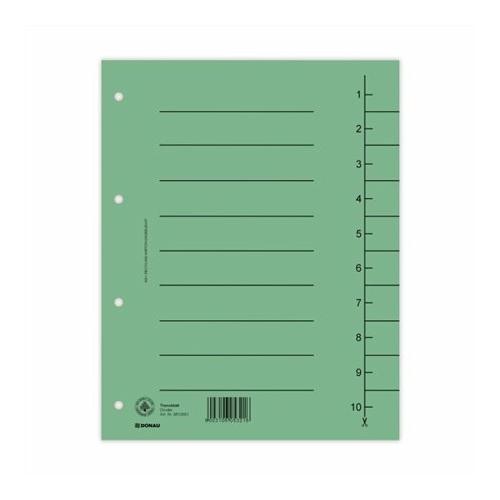 Regiszter, karton, A4, DONAU, zöld