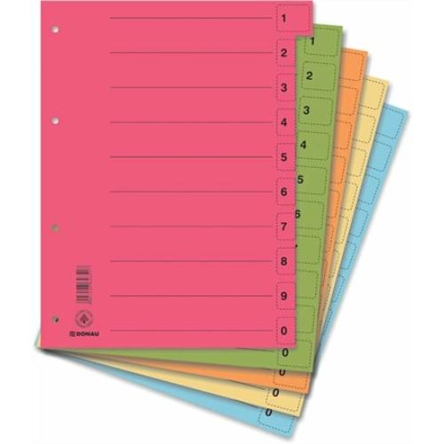 Regiszter, karton, A4, mikroperforált, DONAU, vegyes színek
