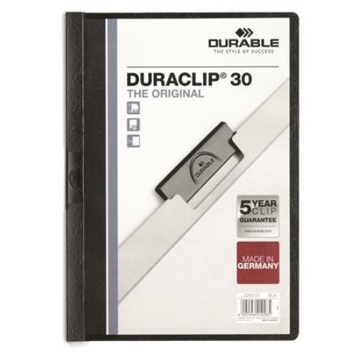 """Gyorsfűző, klipes, A4, DURABLE """"DURACLIP® 30"""", fekete"""