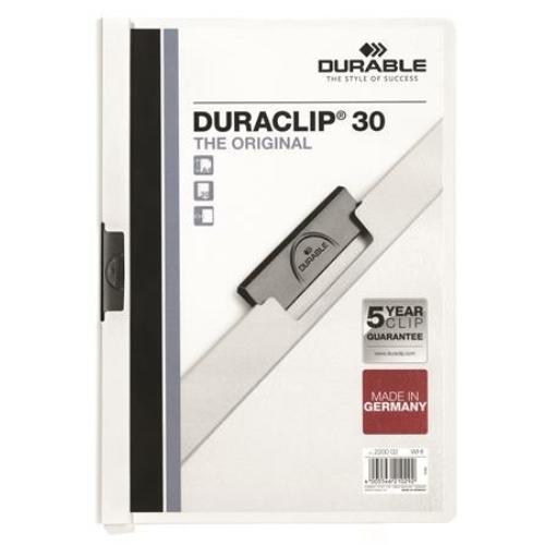 """Gyorsfűző, klipes, A4, DURABLE """"DURACLIP® 30"""", fehér"""
