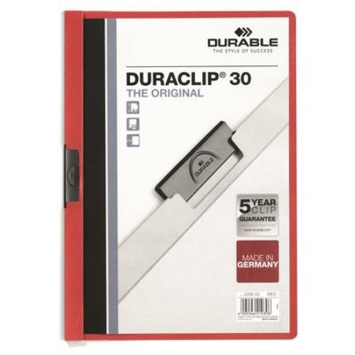"""Gyorsfűző, klipes, A4, DURABLE """"DURACLIP® 30"""", piros"""