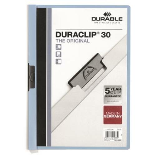 """Gyorsfűző, klipes, A4, DURABLE """"DURACLIP® 30"""", kék"""