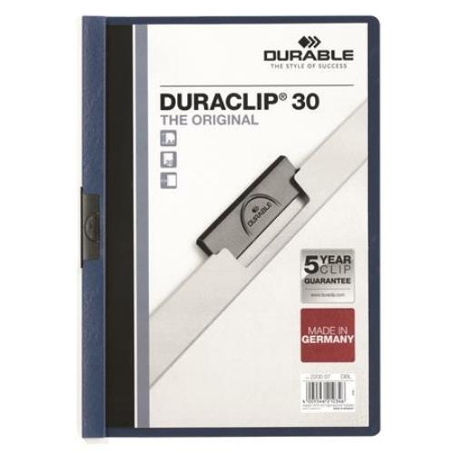 """Gyorsfűző, klipes, A4, DURABLE """"DURACLIP® 30"""", sötétkék"""