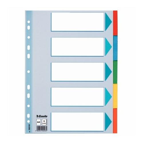 """Regiszter, karton, A4, 5 részes, írható előlappal, ESSELTE """"Standard"""", színes"""