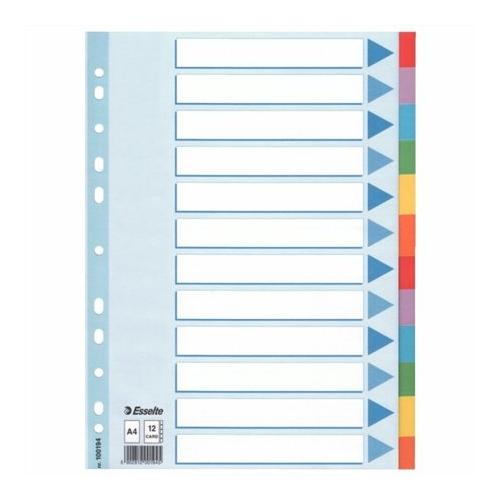 """Regiszter, karton, A4, 12 részes, írható előlappal, ESSELTE """"Standard"""", színes"""