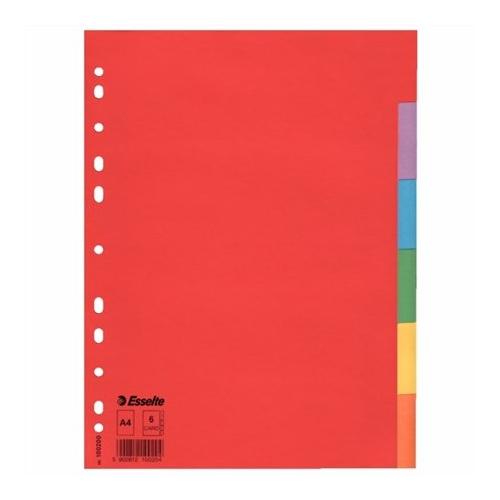 """Regiszter, karton, A4, 6 részes, ESSELTE """"Economy"""", színes"""