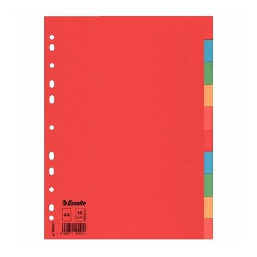 """Regiszter, karton, A4, 10 részes, ESSELTE """"Economy"""", színes"""