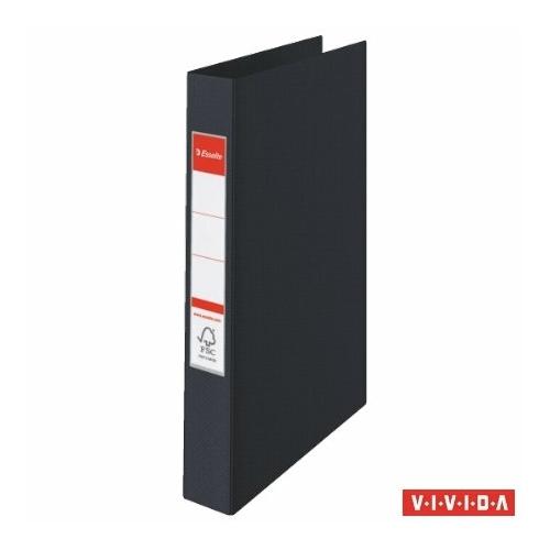 """Gyűrűs könyv, 2 gyűrű, 42 mm, A4, PP, ESSELTE """"Standard"""", Vivida fekete"""