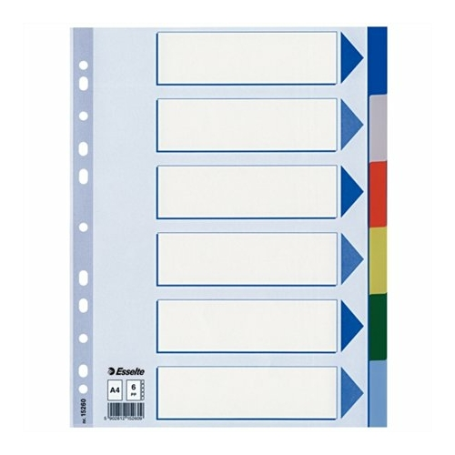 Regiszter, műanyag, A4, 6 részes, ESSELTE