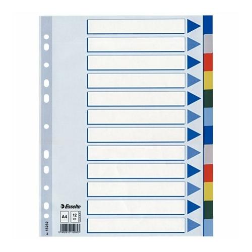 Regiszter, műanyag, A4, 12 részes, ESSELTE