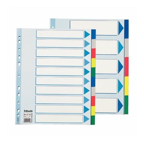Regiszter, műanyag, A4 Maxi, 10 részes, ESSELTE