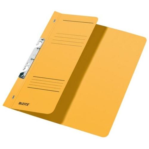 Gyorsfűző, karton, fémszerkezettel, A4 feles, LEITZ, sárga