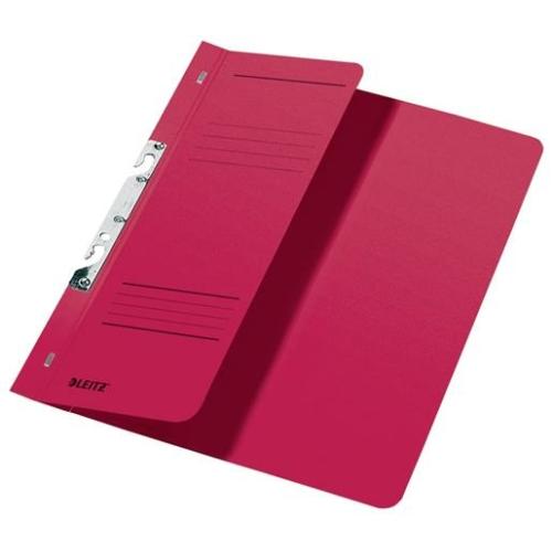 Gyorsfűző, karton, fémszerkezettel, A4 feles, LEITZ, piros